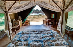 Luxury tent interior & view